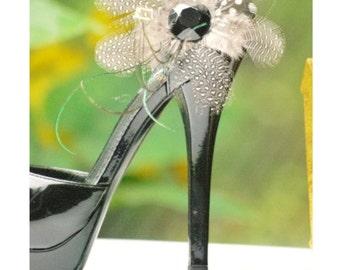 Classy Bridal Shoe Clip Set. Handmade Statement Jewel Gem, Couture Winter Bride Bridesmaid Party Gift, Elegant Boudoir Edgy Chic, Ebony Noir
