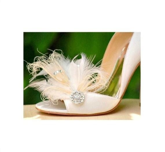 Wedding Shoe Clips Ivory Peacock & Rhinestone. Bride Bridal Bridesmaid Couture High Fashion, Wedding Dazzling Diva Glam Bling Edgy Burlesque
