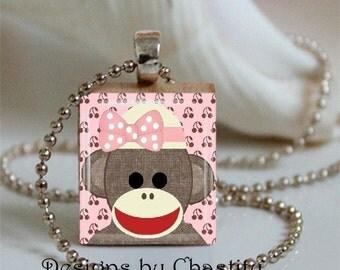 Pink Sock Monkey Scrabble Pendant Necklace