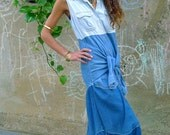 Blue Denim Shirt Dress Upcycled Maxi                                  ReMade in England UK