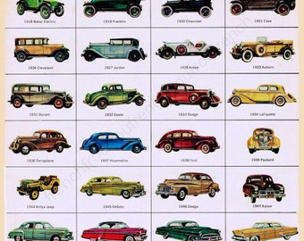 vintage mid century classic american cars illustration digital download