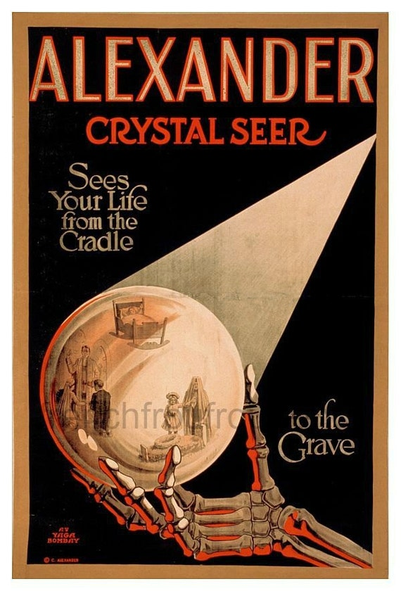 vintage art deco poster fortune teller crystal ball DIGITAL