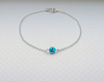 Evil eye bracelet, choose your color, glass evil eye charm, sterling silver chain, lucky, protection, talisman, amulet jewelry - Olga