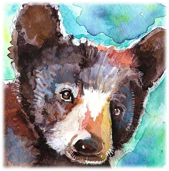 Black Bear Cub Artist Signed Watercolor Print