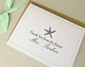 Thank You From The Future Mrs Personalized Wedding Starfish Bridal Shower Cards and Envelopes Set of 25