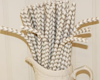Paper Straws, 20 Grey Chevron BENDY™ Paper Drinking Straws, Bendable Paper Straws, Silver Grey Paper Straws, Kids Paper Straws