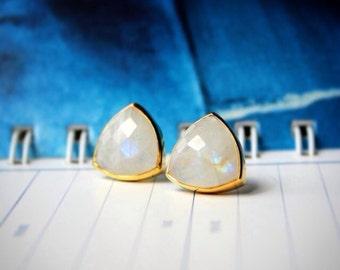 Moonstone Bezel Set Stud Post Earrings.....LIMITED EDITION