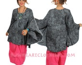 SUNHEART UBER GRAPHITE  bohemian Hippie Chic Ruched Poncho Tunic one size sml med large xl 1x 2x 3x 4x plus