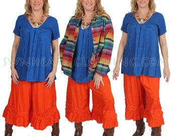SunHeart Indigo Blue  twist tie s/slv  TOP sexy boho hippie chic small medium large CLEARANCE SALE
