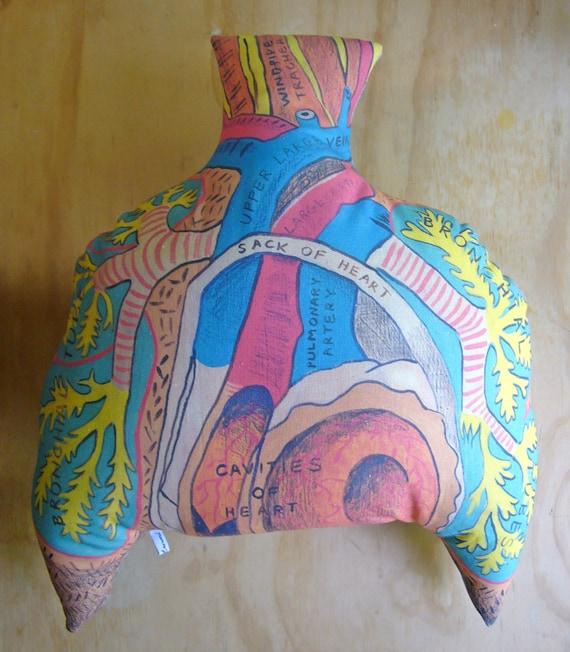 LAST ONE -- Organic Hemp Cushion - Heart and Lungs No 9