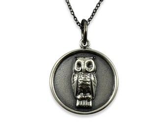 Owl Necklace Silver White Bronze, Long Owl Necklace, Owl Jewelry, Owl Necklace Silver, Woodland Jewelry,Owl Pendant Necklace