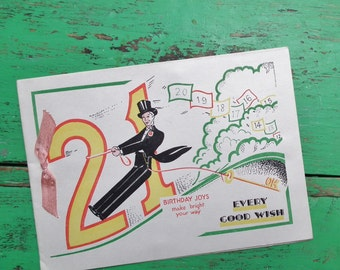 Vintage 21st Birthday Greetings Card Evening Dress Top hat and Tailcoat Art Deco 30s UNUSED