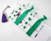 Shamrock Hair Ties Set, Green Clovers, St Patrick's Day, for Teens Tweens, Cute Green and White Ponytail Holders, Personalized Bookmark