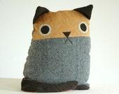Cat Pillow --- Grey Wool Tweed body, Mustard Yellow face --- Mid Century Modern