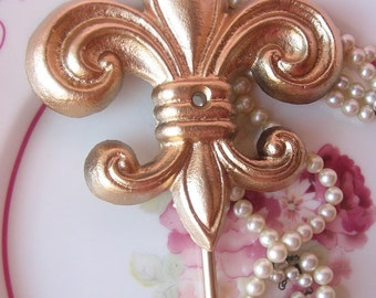 Wall Hook,Cast Iron Fleur De Lis Wall Hook, Painted in Gold Leaf Paint