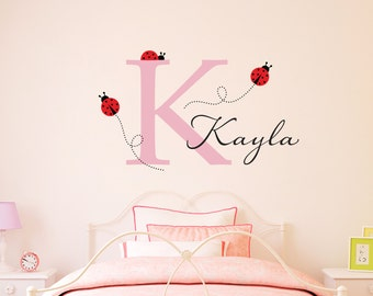 Ladybug Wall Decal with Initial & Name - Personalized Girls Initial Decal - Ladybug Wall Art - Large