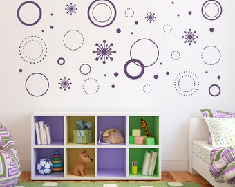 Crazy Circles Wall Decal - Circle Wall Art - Starburst Decals - Girl  Bedroom Decal Set