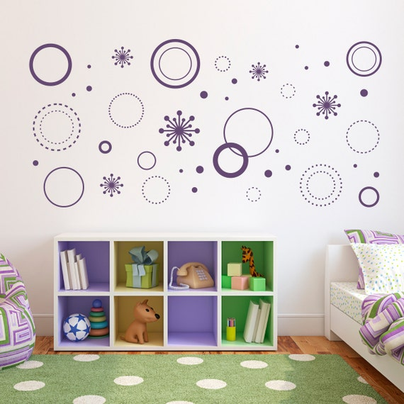 Crazy circles wall decal circle wall art starburst decals for Crazy bedroom wall designs