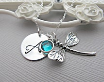 Blue Zircon Birthstone Jewelry, December Birthday, Dragonfly Necklace, Initial Necklace for mom, Personalized Gift for Graduation