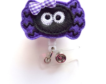 Ms. Purple Spider - Halloween ID Badge Reel - Name Badge Holder - Nursing Badge - Nurse Badge Holder - Nursing Badge Clip - Teacher Badge