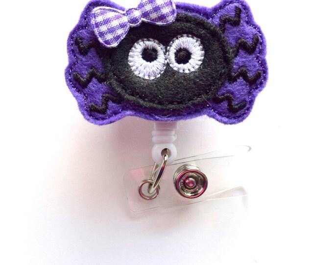Ms. Purple Spider - Halloween ID Badge Reel - Name Badge Holder - Nursing Badge - Nurse Badge Holder - Nursing Badge Clip - Teacher Badge