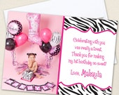 Zebra Photo Thank You Cards - Professionally printed *or* DIY printable - Your choice of color
