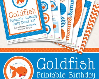 Goldfish birthday party printable decor kit - Over 45 pages of adorable designs!