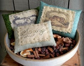 Spring Bowl Fillers Primitive Hand Embroidered and Vintage Image Pillow Tucks Rustic Spring Sheep and Rabbit Stash Abouts Spring Decoration