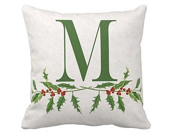 Christmas Holiday Pillow Cover Personalized Initial Holly Berries Cotton and Burlap Pillow Cover