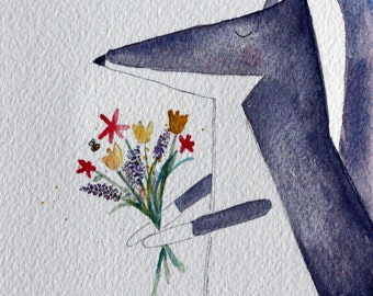 A gift of flowers, fox and bouquet original watercolor, grey fox, children's art, Mother's day, woodland