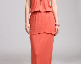 Sample Sale / Tiered Sleeveless Maxi Dress with Elastic Waist, Orange Maxi Dress, Summer Dress, Sun Dress