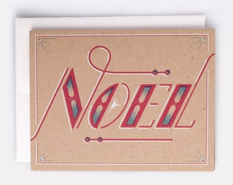 "Noel Holiday Card -  100% Recycled French Paper Speckletone Kraft, Vintage Inspired 4.25"" x 5.5"" A2"