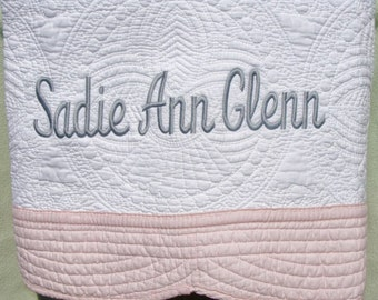 Personalized White Baby Quilt with Pink Trim -   Embroidered Baby Blanket