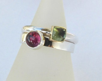 Pink Tourmaline Solitaire Stacking ring Size 6.25 READY TO SHIP