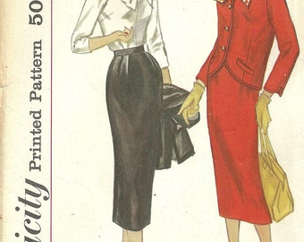 Simplicity 2169 / Vintage 50s Sewing Pattern / Suit Jacket Skirt Blouse / Size 12 Bust 32