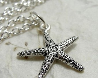 Starfish Necklace, Silver Plated Starfish Charm on a Silver Cable Chain