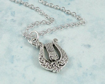 Lyre Necklace, Silver Plated Musical Lyre Charm on a Silver Cable Chain