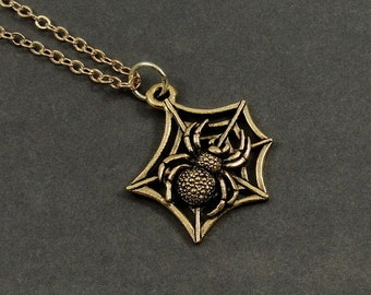 Spider Web Necklace, Gold Spider Web Charm on a Gold Cable Chain