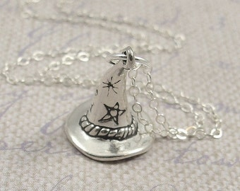 Wizard Hat Necklace, Sterling Silver Wizard Hat Charm on a Silver Cable Chain