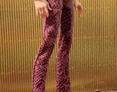 Smoky Pink Snake-print Leather Pants for Monster High Boy Doll