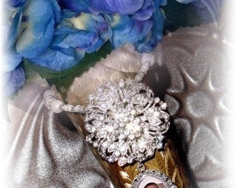 Wedding Bouquet Memorial Photo Timeless Old World Charm Crystal Gems Pearls Silver Tibetan Beads - FREE SHIPPING