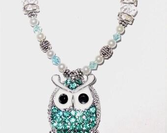 Wedding Bouquet Memorial Photo Metal Charm Silver Owl Aqua Blue Crystal Gems Pearls Silver Tibetan Beads - FREE SHIPPING