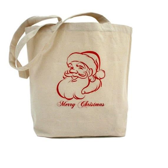 Christmas tote cotton canvas bag santa