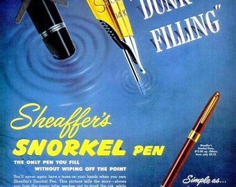 1953 Sheaffer's Writing Pen and General Electric Range Oven Ads Office Decor Cooking Baking Kitchen Dining Writer Author Wall Art Home Decor