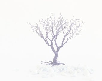 blue grey art tree statue - minimal home decoration - miniature art statue