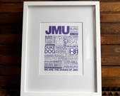 JMU Letterpress Print (Purple Ink on White Paper)