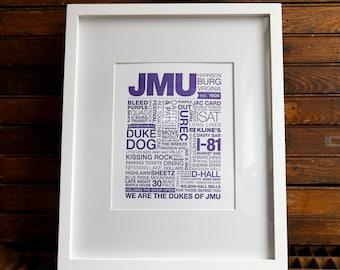 JMU Letterpress Print (Purple Ink on White Paper)