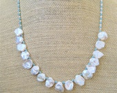 Freshwater Keishi Pearl Necklace Lustrous Creamy Pearls with Tiny Aqua Glass Seed Beads Bridal Jewelry - CatchingWaves