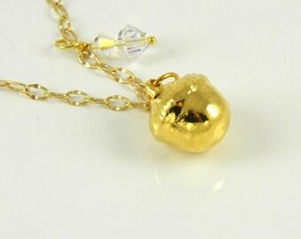 Small Gold Acorn Pendant on chain, Pendant Necklace, Acorn Necklace