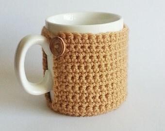 Gold Crochet Mug Cosy, Mug Cozy, Crochet Cozy